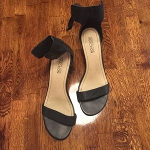 Classic Black toe strap and ankle strap wedge